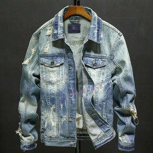 Mens Denim Ripped Rugged Slim Fit Jean Jackets XL